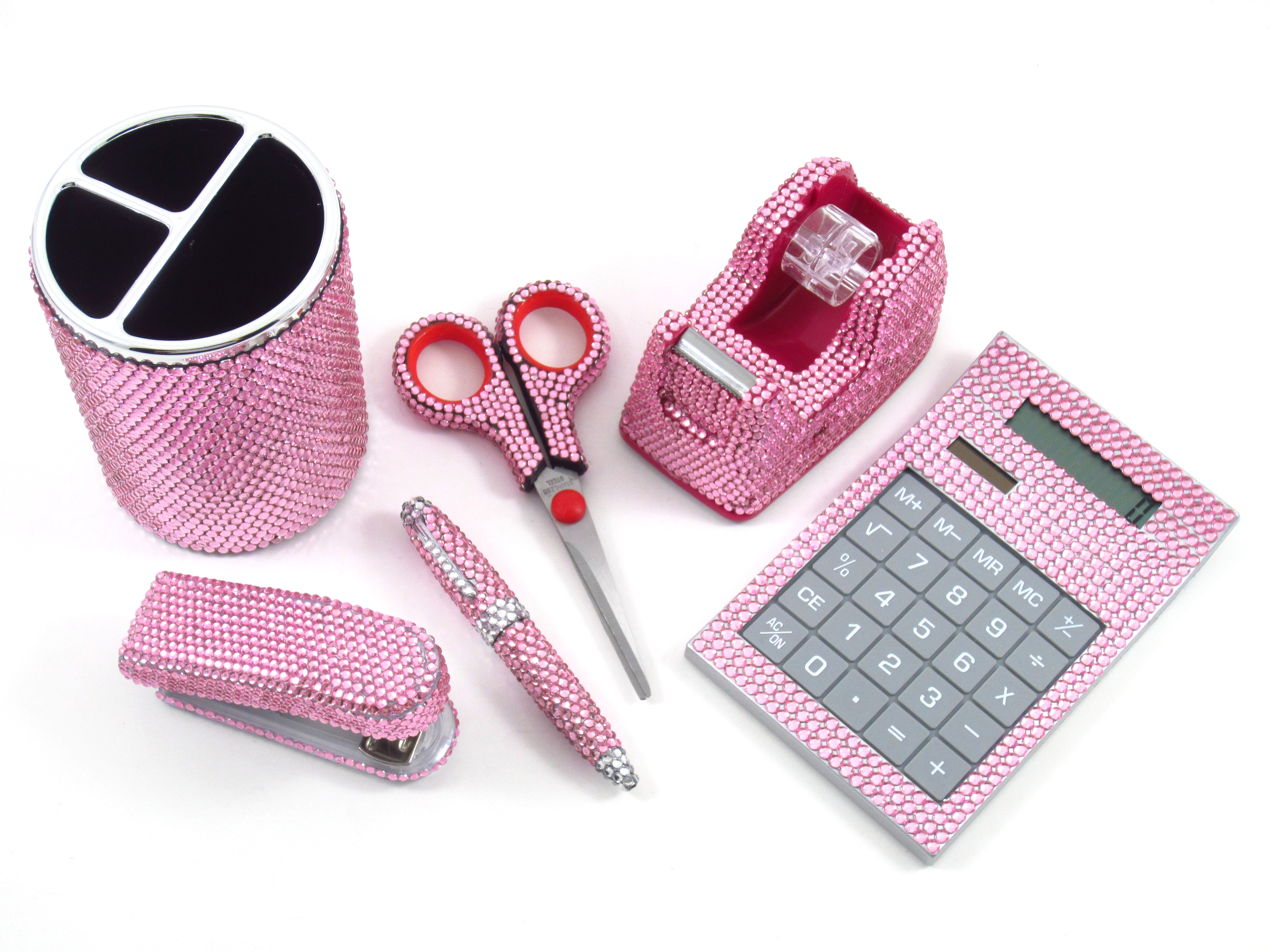 Pen And Holder Set Pink Crystal Office Supply Set Pen Holder Scissors