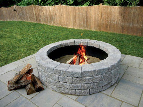 Roman Stack Fire Pit And Wall Photos