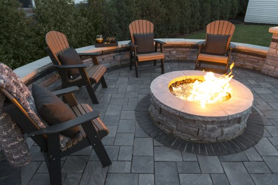 Richcliff Patio With A Rivercrest Wall Firepit Kit And