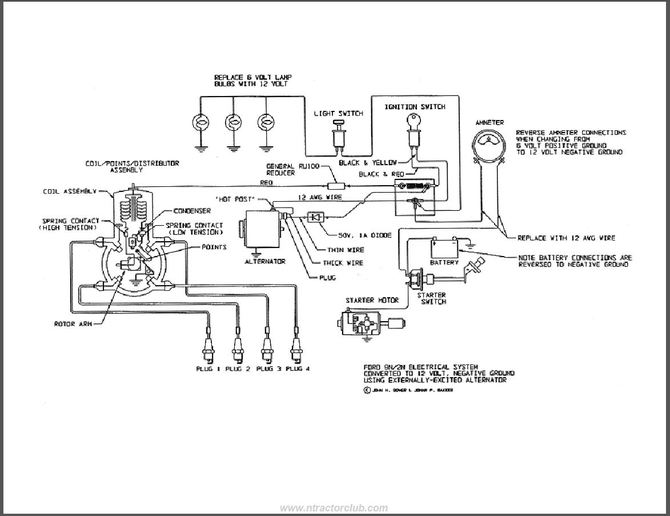 9n ford tractor alternator wiring diagram