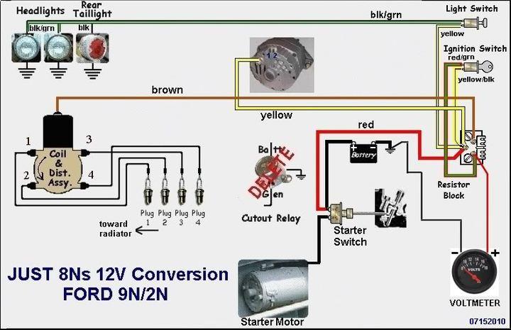 ford 9n wiring diagram 12 volt 1 wire alternator