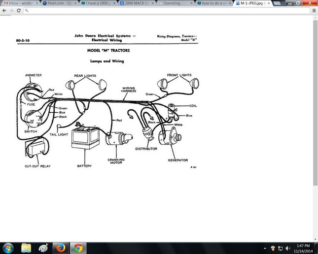 JD Model M Wiring Diagram - Yesterday\u0027s Tractors