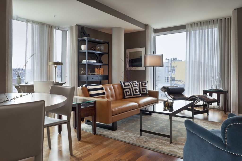 Contemporary Living Room with Laminate floors by Larson Shores - living room chaise lounge