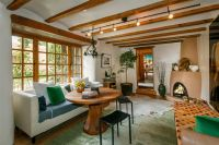 Rustic Living Room with High ceiling & Carpet in Santa Fe ...