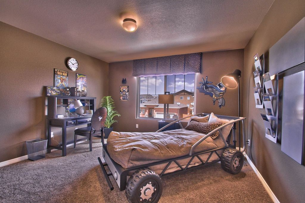 Eclectic Kids Bedroom with flush light \ Carpet in Peyton, CO - woodbridge home designs