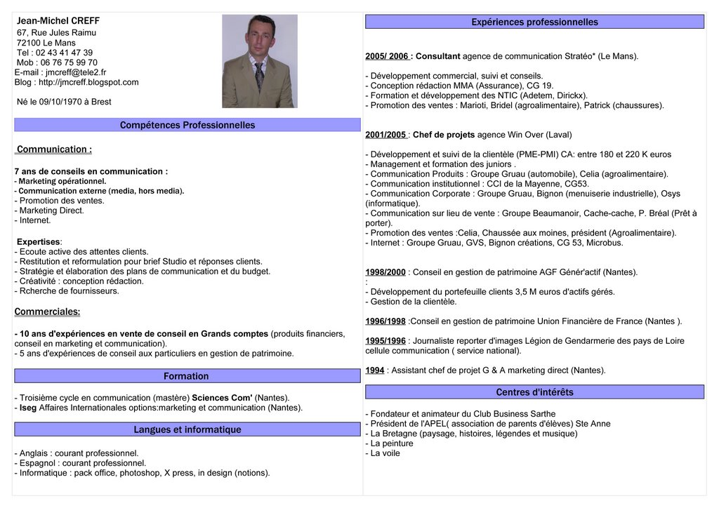 exemple cv cpe