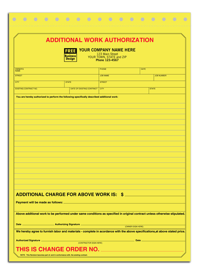 Change Order Forms - 30  Off Retail Additional Work Authorization Form