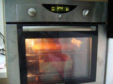 Brownies baking in oven