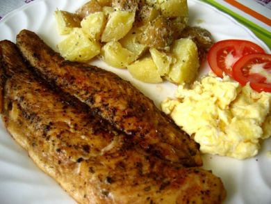 Grilled dory with buttered potatoes and scrambled eggs