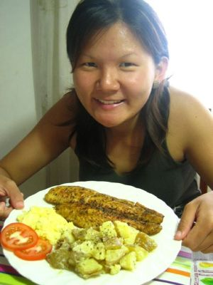 Grace with my cooked lunch