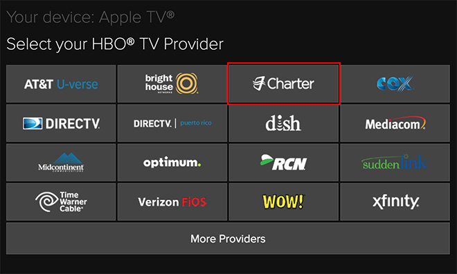 HBO GO activation page for Apple TV suggests support from Charter