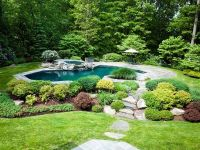 Rustic Swimming Pool with Pathway & Pool with hot tub in ...