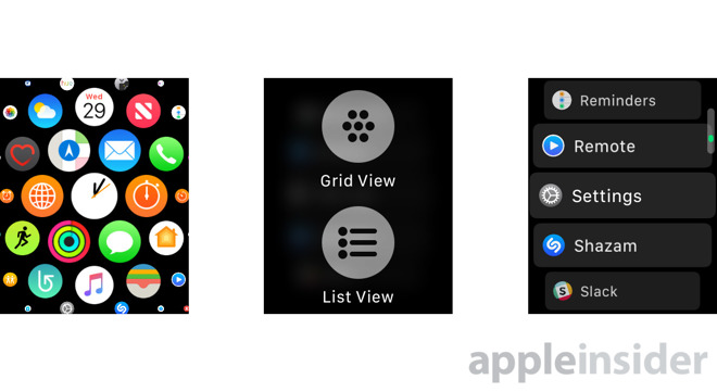 How to switch apps to List View on an Apple Watch with watchOS 4