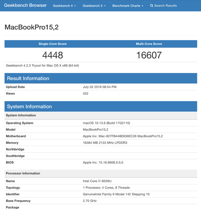 New MacBook Pro model with Intel Coffee Lake CPU shows up in