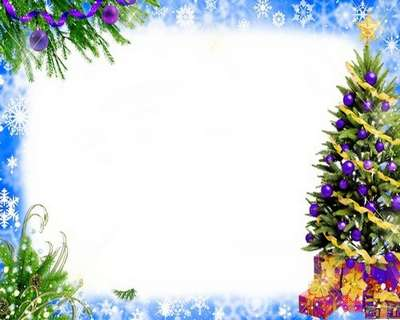 Free Christmas PSD frame for Photoshop with Christmas tree and gifts