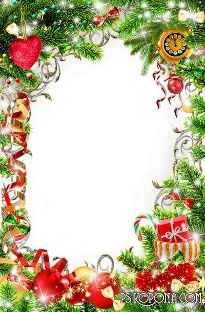 Free Bright Christmas festive png frame photo frame psd template - christmas template free