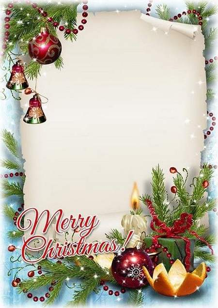 Beautiful Christmas photo frame psd - ( free Christmas frame psd