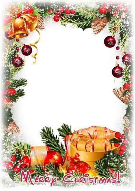 Photo frame psd Merry Christmas or Happy New Year ( free photo frame