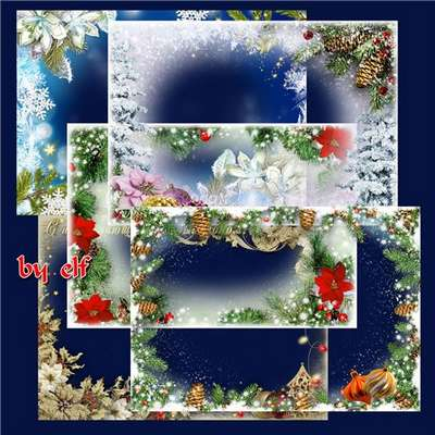 Set Christmas photo frames png ( free 6 photo frames png, free