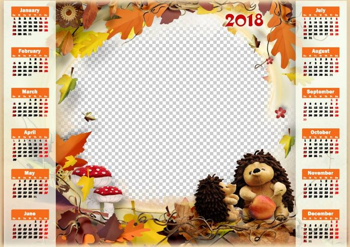 2018 Childrens calendar PSD, PNG, download Calendar for Photoshop