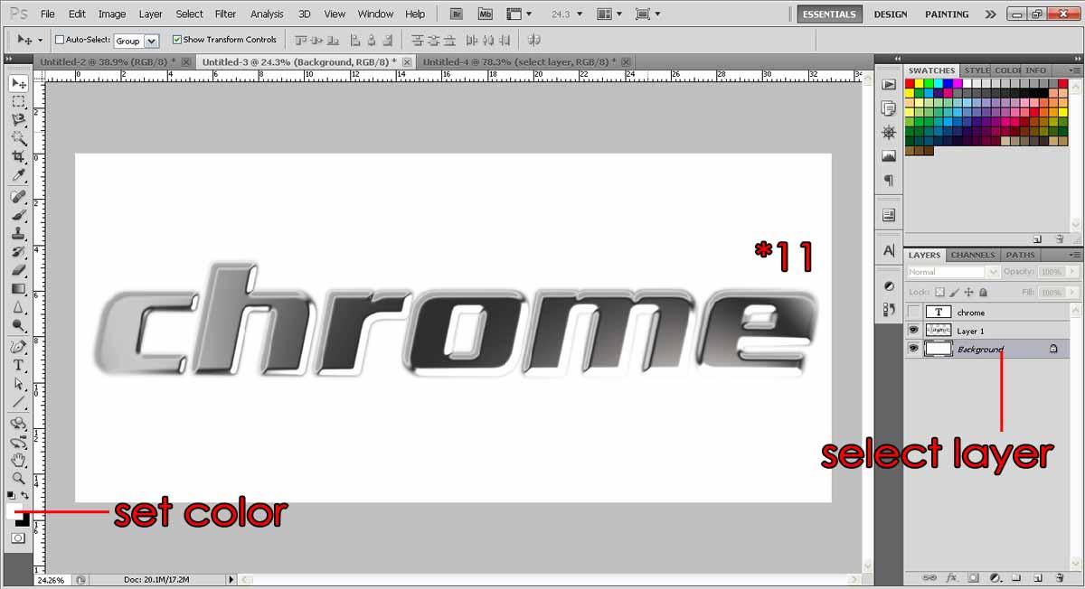 Create Chrome effects text photoshop-tutorialorg