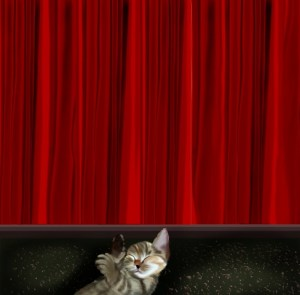 cat and the red curtain digital painting by nisha gandhi