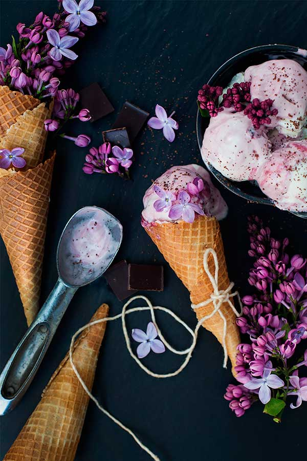 Lilac and ice cream food photography