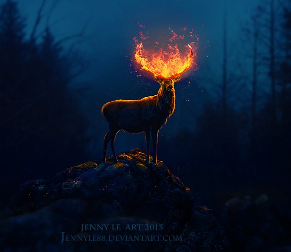 deer flame forest night fire