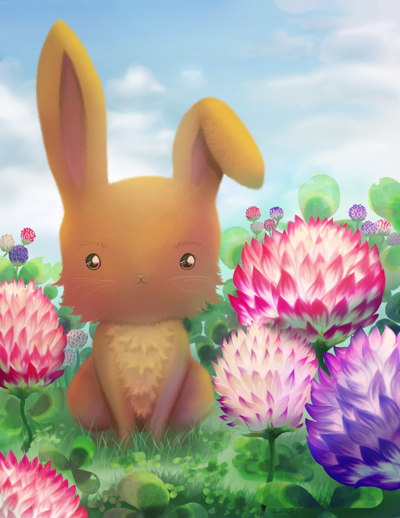 baby animals bunny clover rabbit flowers lotus