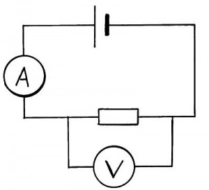 circuit diagram showing the measurement of current in the circuit and