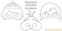 Maschere di Elsa, Anna e Olaf di Frozen da Colorare ...