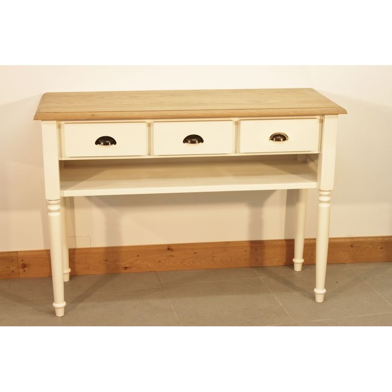 Meuble Console Blanc Teinte Huile Cire Style Romantique - Meubles Style Romantique