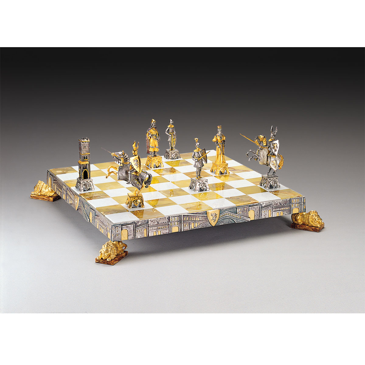 Gold Chess Pieces Veneziani Medioevali Medieval Venice Gold Silver Themed Chess Set