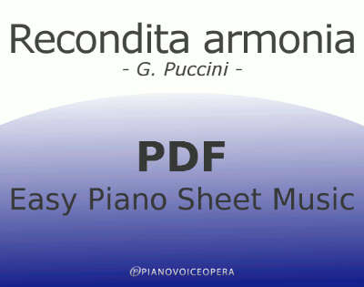 Recondita Armonia Easy Piano Sheet Music