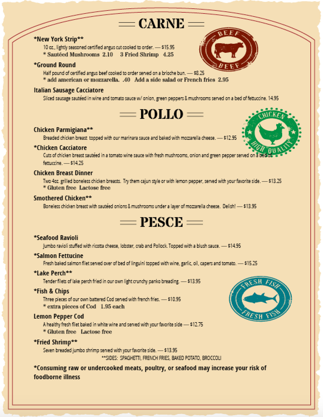 Italian Take Away Menu Menus Pias Pizza