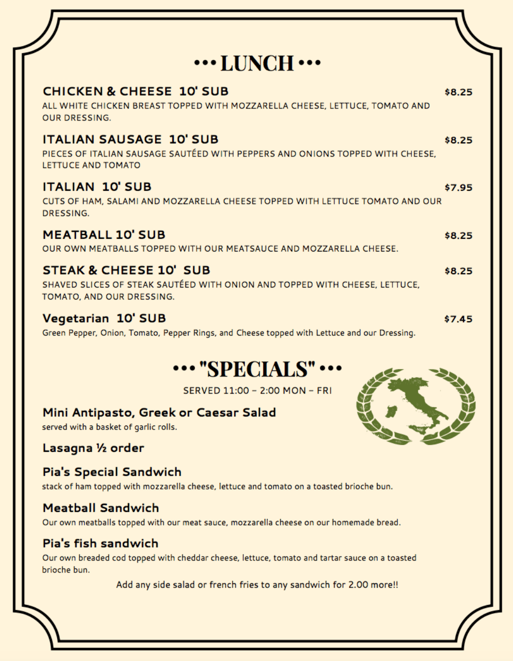 Dining Menu Menus Pias Pizza