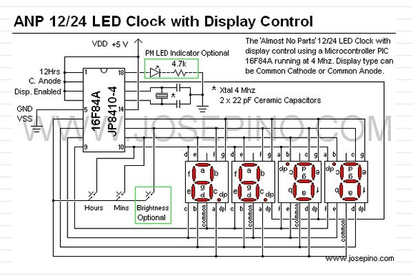 A 12hr/24hr LED Clock with display control using PIC16F628A