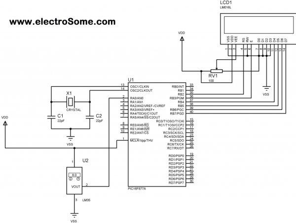 using pic microcontroller and lm35 temperature sensor circuit diagram