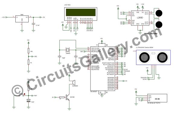 circuit diagram of wireless android based remote control to control