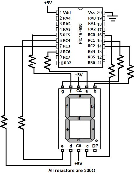pic16f690 led display circuit schematic