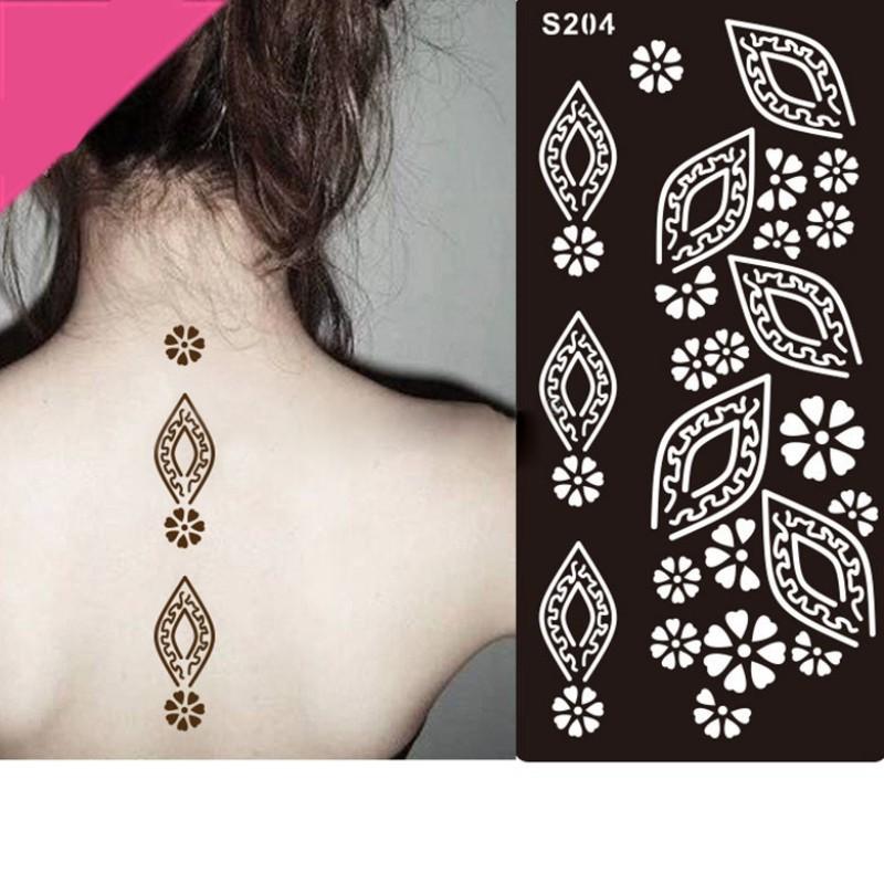 6PC India Mehndi Hand Leg Body Henna Stencil Henna Art Temporary - tattoo template