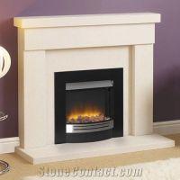 Simple Limestone Fireplace Mantel, Cream Stone Beige ...