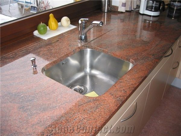 Rosso Multicolor Granite Kitchen Countertop From Romania - Sockelleiste Küche Granit