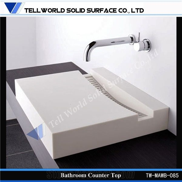 China Supply Solid Surface Bathroom Countertops With Built