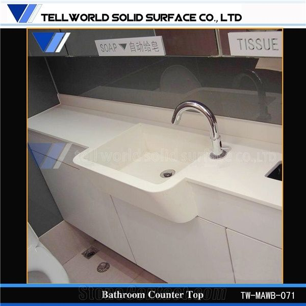 White Arylic Solid Surface Bathroom Vanity Countertops