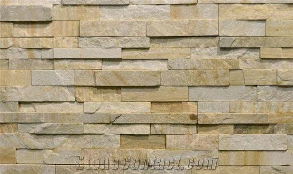 3d Brick Effect Home Depot Brick Wallpaper Everest Gold Quartzite Wall Cladding Panels Yellow