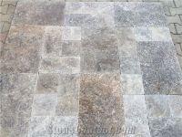 Silver Travertine, Tumbled French Pattern Set, Tiles, Grey ...