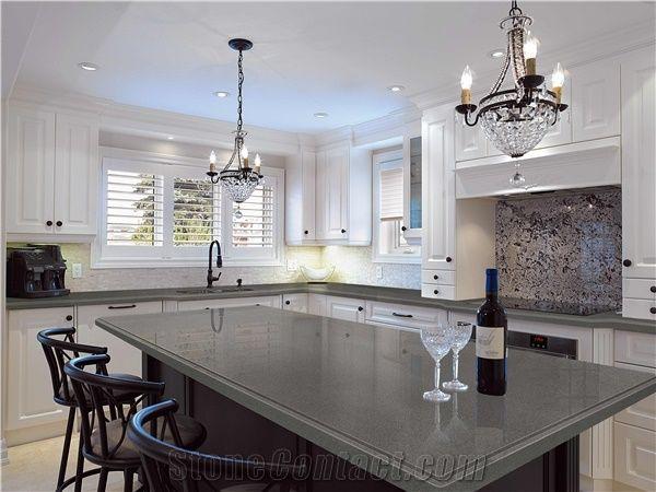 Pure Grey/Dark Grey Quartz Kitchen Countertop Smoke Quartz