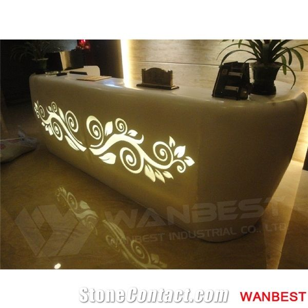 Customized High Gloss Artificial Marble Flower Pattern Illuminated