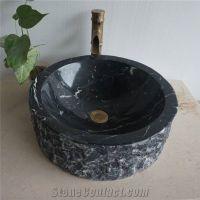 China Marquina Black Marble Drop-In Bathroom Sinks ...